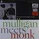 Виниловая пластинка GERRY MULLIGAN & THELONIOUS MONK - MULLIGAN MEETS MONK