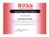 Сертификат дилера BOSS Audio