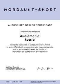 Сертификат дилера Mordaunt-Short