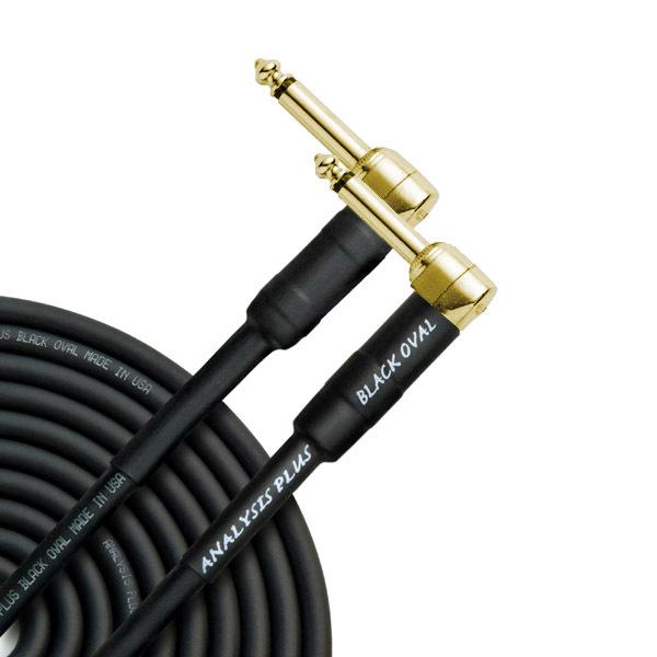 Кабель гитарный Analysis-Plus Black Oval G&H Plug Gold 8 m (угловой/угловой)
