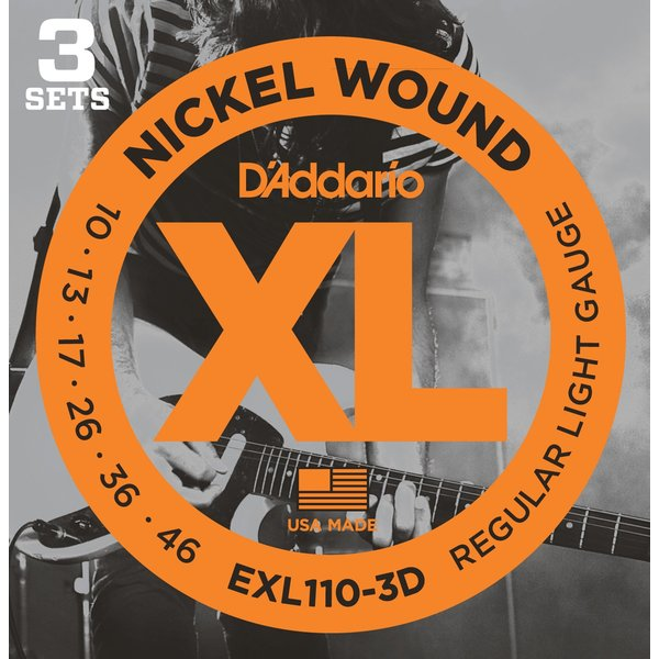 Гитарные струны D'Addario EXL110/3D (для электрогитары) струны для электрогитары d addario exp120 coated 9 42