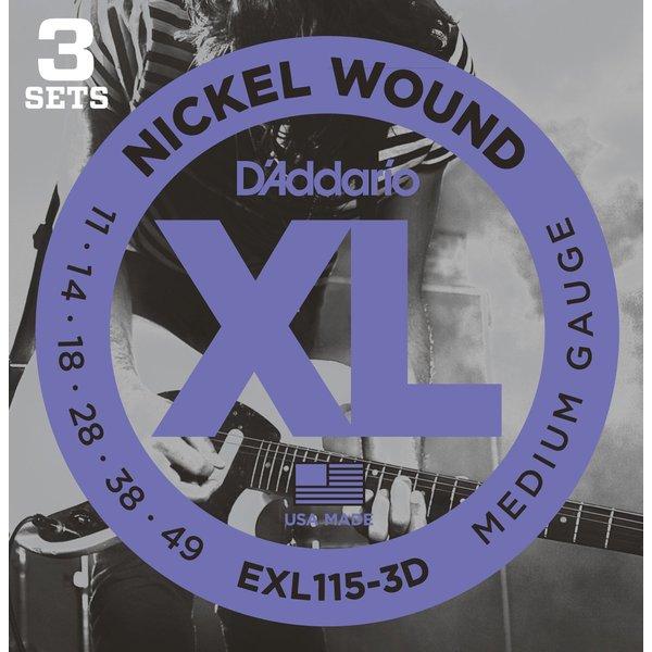 лучшая цена Гитарные струны D'Addario EXL115/3D (для электрогитары)