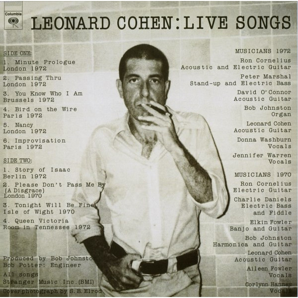Leonard Cohen Leonard Cohen - Live Songs виниловая пластинка cohen leonard songs of love and hate
