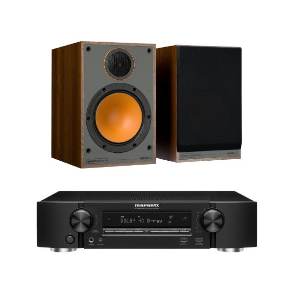 Полочная акустика Monitor Audio 100 Walnut + Marantz NR1509 Black
