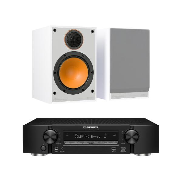 Полочная акустика Monitor Audio 100 White + Marantz NR1509 Black