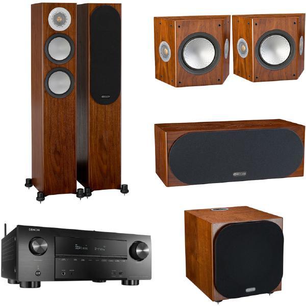 Комплект домашнего кинотеатра Monitor Audio Silver N2 Walnut + Denon AVR-X3600H Black