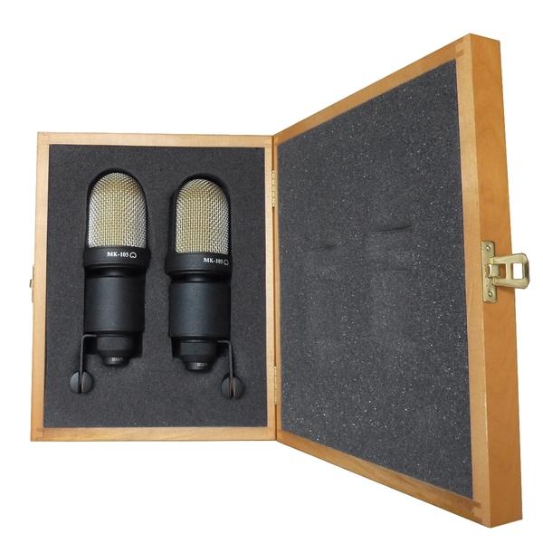 лучшая цена Студийный микрофон Октава МК-105 Matte Black (стереопара, в деревянном футляре)