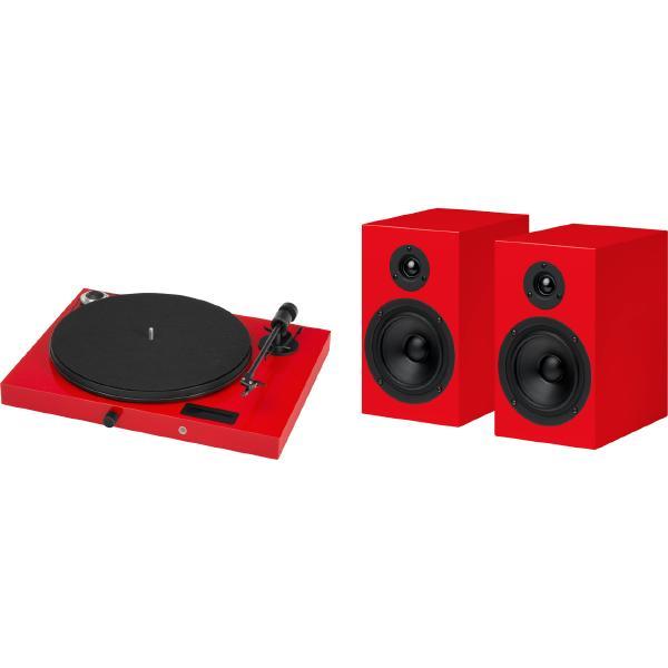 Виниловый проигрыватель Pro-Ject Juke Box E Red (OM-5e) + Speaker 5