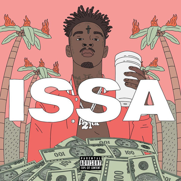 21 Savage 21 Savage - Issa Album (2 LP) vinyl art flower pattern fridge window room wall sticker