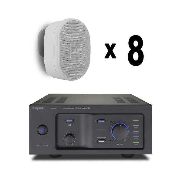 Комплект оборудования для кафе, ресторана, магазина площадью до 50 метров (настенная акустика) всепогодная акустика apart mplt62 g