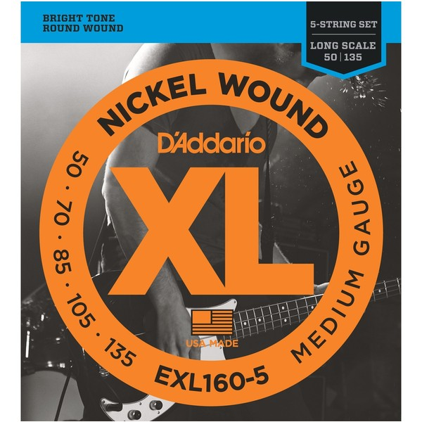 Гитарные струны D'Addario EXL160-5 (для бас-гитары) ernie ball extra slinky nickel wound струны для электрической гитары 8 38