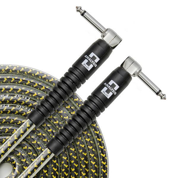 Кабель гитарный Analysis-Plus Yellow Oval G&H Plug Nickel with OVERMOLD 3 m (угловой/угловой)