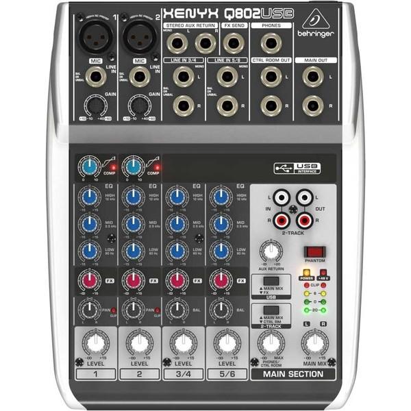 Аналоговый микшерный пульт Behringer XENYX Q802USB (уценённый товар) смеситель behringer q802usb usb монитор со звуковой картой караоке рекордер домашняя музыкальная запись в деловой группе k запись на сцене и т д
