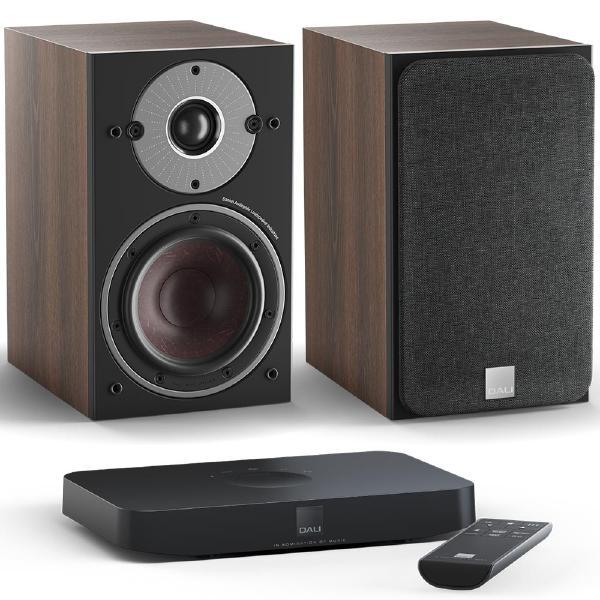Фото - Активная полочная акустика DALI Oberon 1 C Dark Walnut + Sound Hub Compact полочная акустика dali epicon 2 walnut