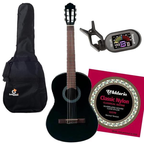 Классическая гитара с аксессуарами Flight C-100 4/4 Black (Bundle 1)