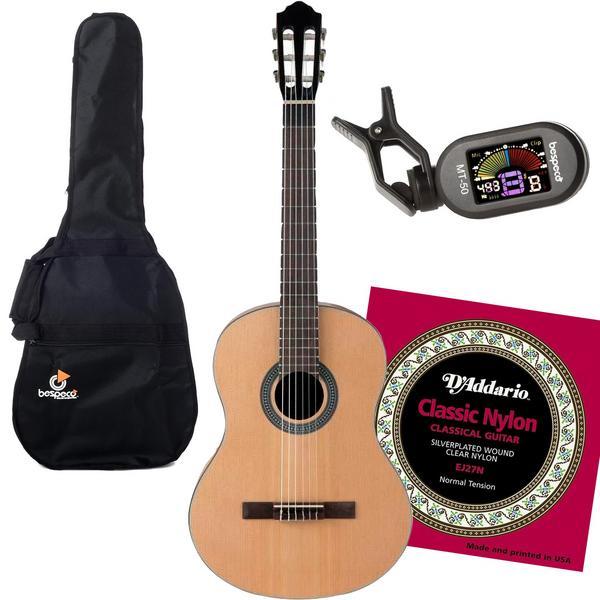 Классическая гитара с аксессуарами Flight C-100 4/4 Natural (Bundle 1)