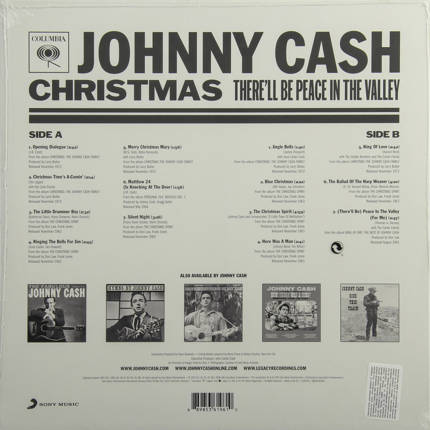 JOHNNY CASH - CHRISTMAS: THERE\'LL BE PEACE IN THE VALLEY, купить ...