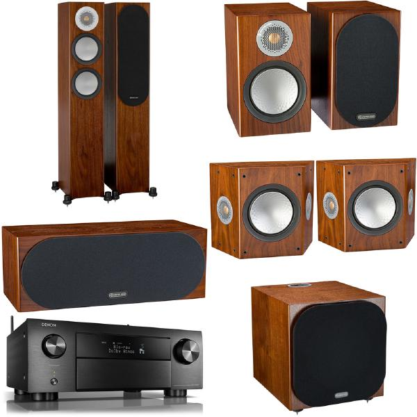 Комплект домашнего кинотеатра Monitor Audio Silver N1 Walnut + Denon AVR-X4500H Black