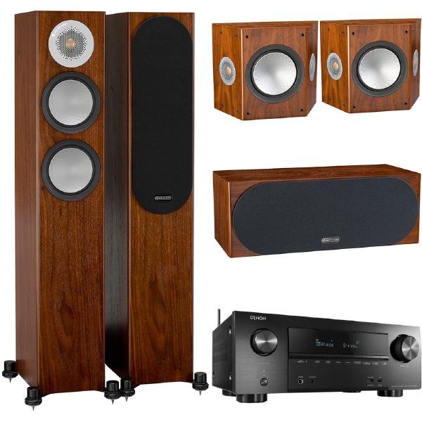 Комплект домашнего кинотеатра Monitor Audio Silver N5 Walnut + Denon AVR-X2600H Black 5 packs 100ft av video audio