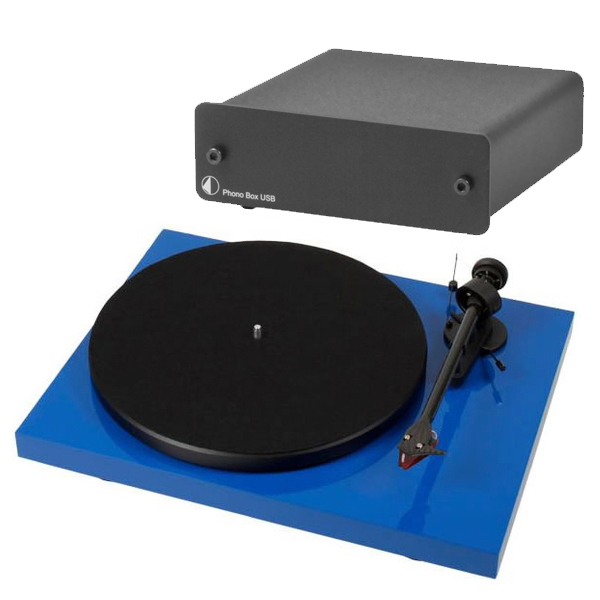 Виниловый проигрыватель Pro-Ject Debut Carbon DC Blue (2M-Red) +  Phono Box USB Black pro ject debut carbon dc piano black 2m red