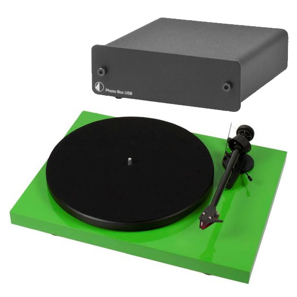 Виниловый проигрыватель Pro-Ject Debut Carbon DC Green (2M-Red) +  Phono Box USB Black pro ject debut carbon dc piano black 2m red
