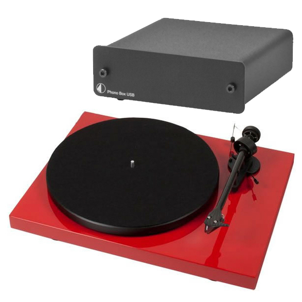 Виниловый проигрыватель Pro-Ject Debut Carbon DC Red (2M-Red) +  Phono Box USB Black pro ject debut carbon dc piano black 2m red
