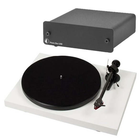 Виниловый проигрыватель Pro-Ject Debut Carbon DC White (2M-Red) +  Phono Box USB Black pro ject debut carbon dc piano black 2m red