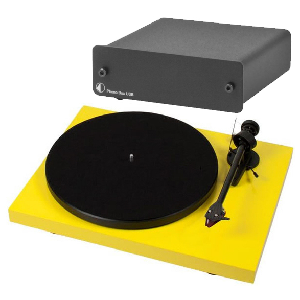 Виниловый проигрыватель Pro-Ject Debut Carbon DC Yellow (2M-Red) +  Phono Box USB Black pro ject debut carbon dc piano black 2m red