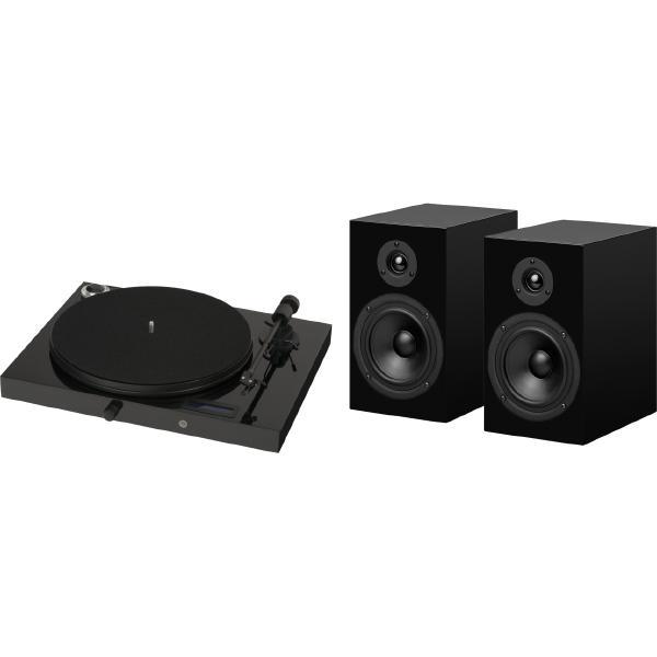 Виниловый проигрыватель Pro-Ject Juke Box E Piano Black (OM-5e) + Speaker Box 5 Black виниловый проигрыватель pro ject juke box e piano black om 5e