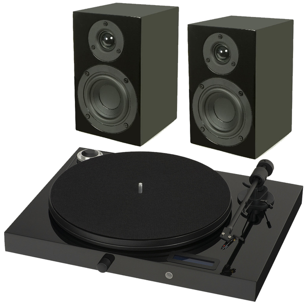 Виниловый проигрыватель Pro-Ject Juke Box E Piano Black (OM-5e) +  Speaker Box 4 Black