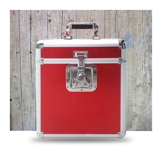 Подставка для виниловых пластинок Rock On Wall Кейс Aluminium Flight Case for 25 LPS Red (уценённый товар)