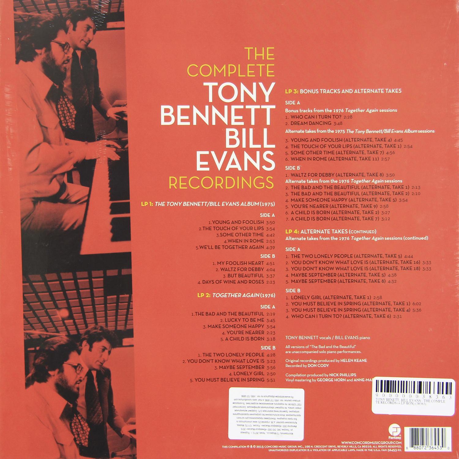 Tony Bennett Bill Evans The Complete Records 4 Lp Box